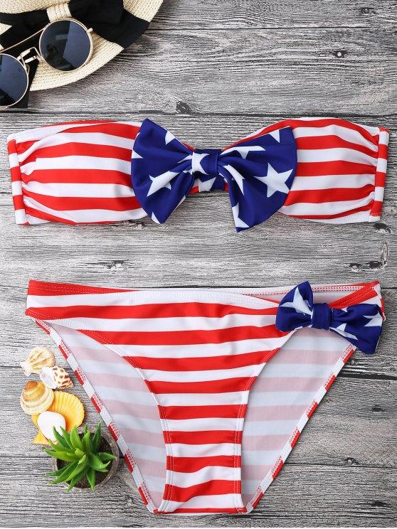 Bow Bandera Americana Patriótico Bandeau Bikini Set - Rojo+Blanco+Azul M