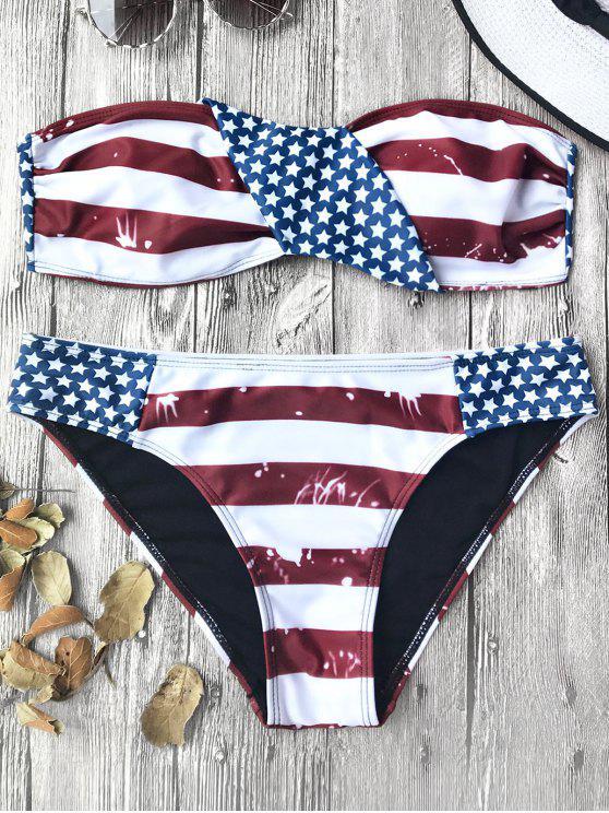 Ensemble de bikini patriotique bandeau patriotique américain - Rouge et blanc et bleu L