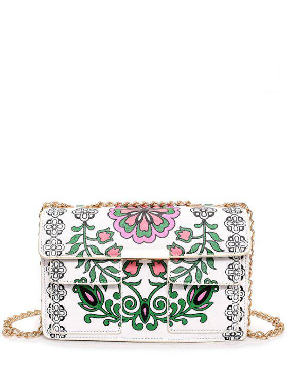 Chain Floral Print Crossbody Bag - White