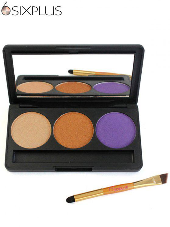trendy SIXPLUS 3 Colors Eyeshadow Palette with Brush - #01