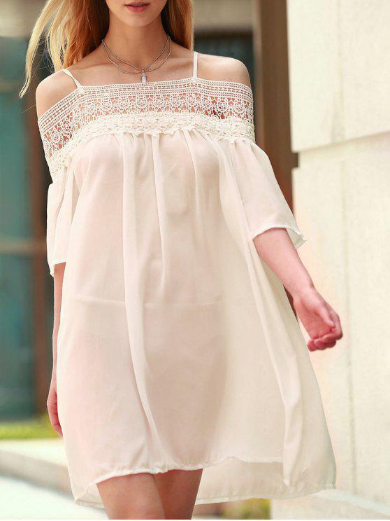 women's Lace Splicing Boat Neck Spaghetti Straps Dress - SHALLOW PINK L