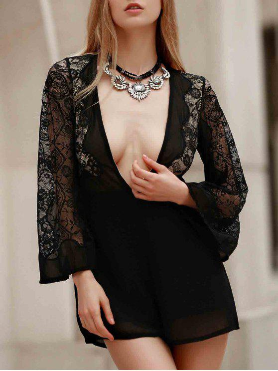shop Plunging Neck Combined Lace Romper With Neck Bow - BLACK S