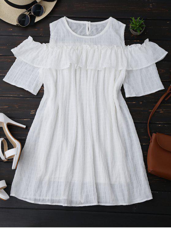 unique Cold Shoulder Ruffle Dress With Crease - WHITE L