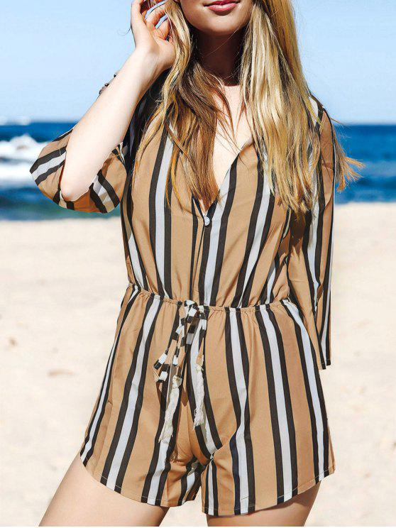 buy Striped Plunging Neck 3/4 Sleeve Drawstring Romper - KHAKI XL