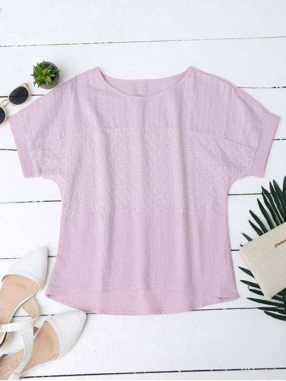 Top bordado floral de la mezcla del lino - Rosa XL