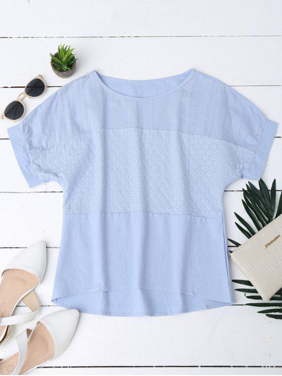 Top bordado floral de la mezcla del lino - Azul XL