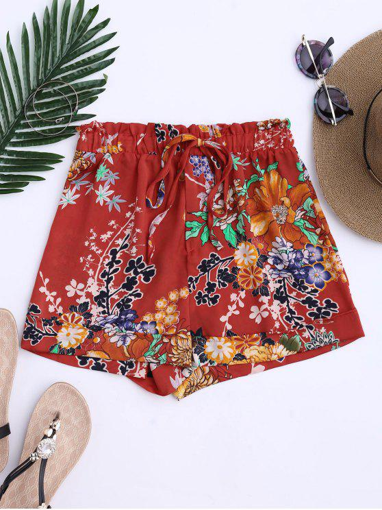 fancy Bohemian Drawstring Floral Shorts - JACINTH M