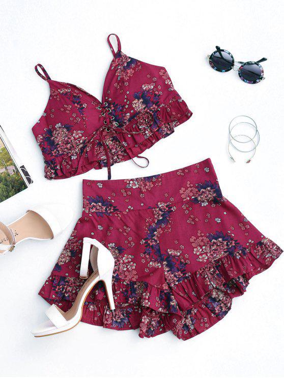 Floral con cordones y pantalones cortos con volantes rebordeados - Floral L