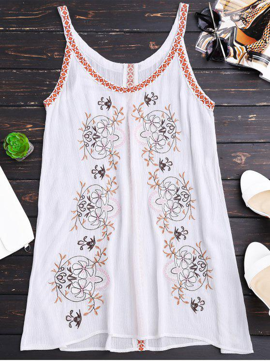 trendy Creased Embroidered Straps Dress - WHITE M
