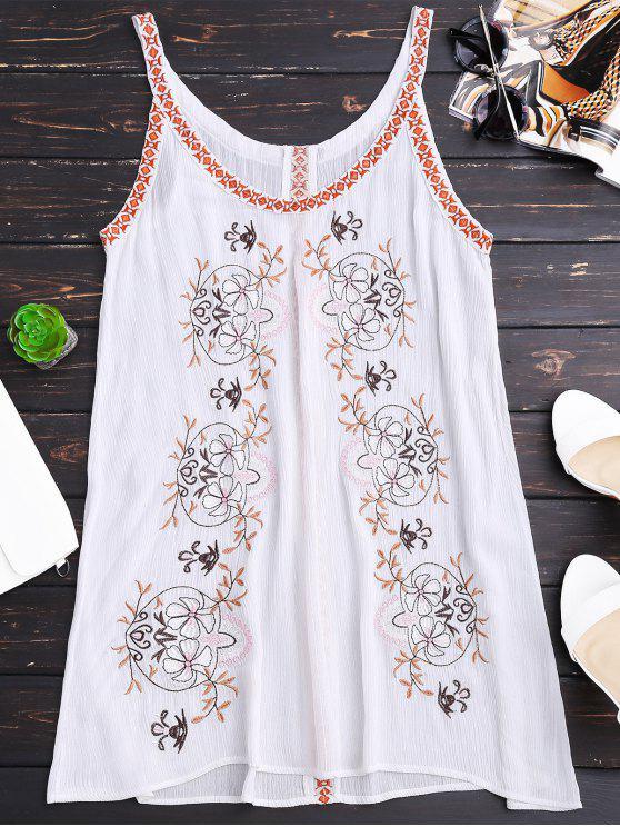 Robe froissée à bretelles brodées à motif - Blanc L