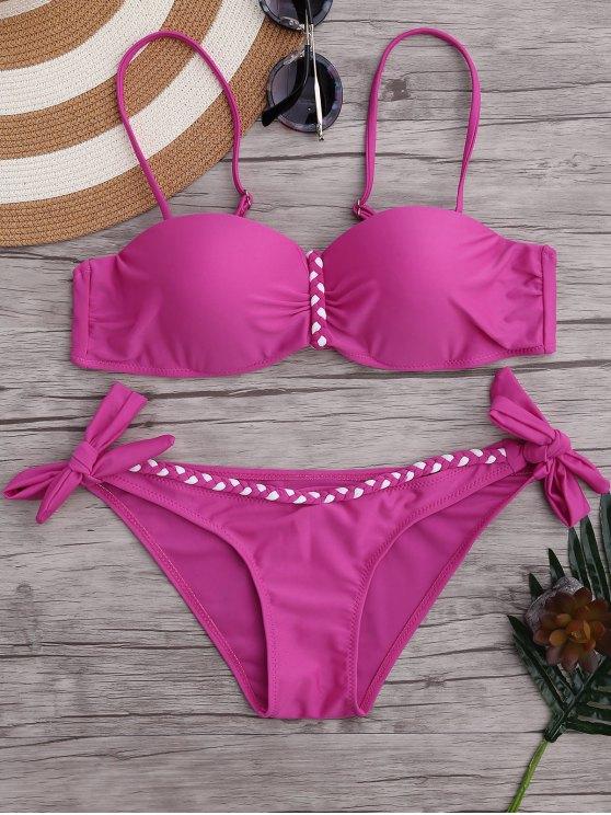 Juego de bikini trenzado moldeado de la armadura de Underwire - Rosa XL