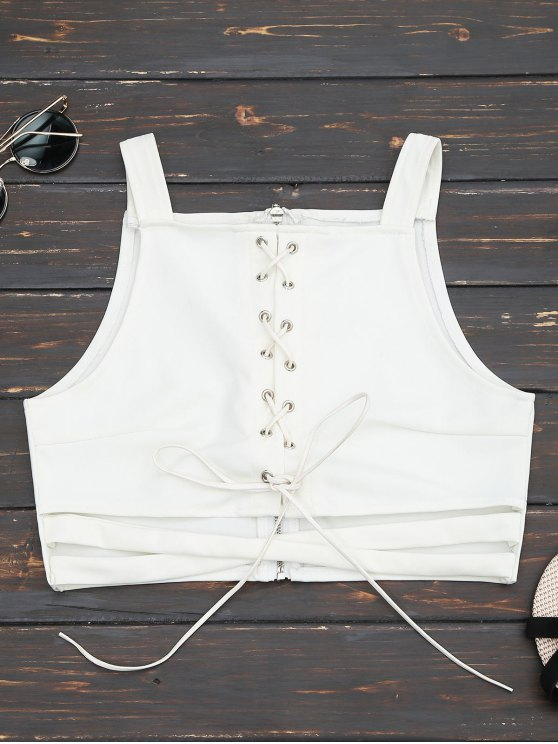 hot Criss Cross Cropped Lace Up Tank Top - WHITE S