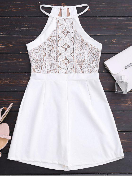lady Sleeveless Lace Halter Romper - WHITE ONE SIZE