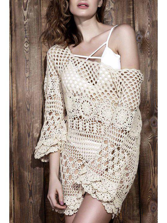 Cut Out girocollo manica 3/4 Crochet Dress - Bianco Sporco Una Taglia
