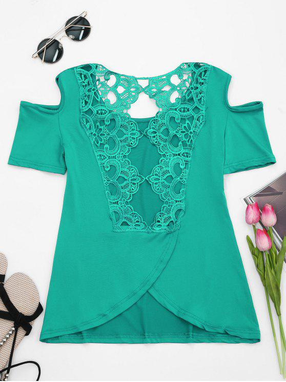 latest Lace Back Cold Shoulder T-shirt - GREEN 2XL