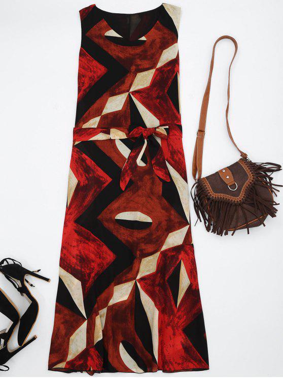 Robe D'été Midi Imprimée Géo en Chiffon - Rouge L