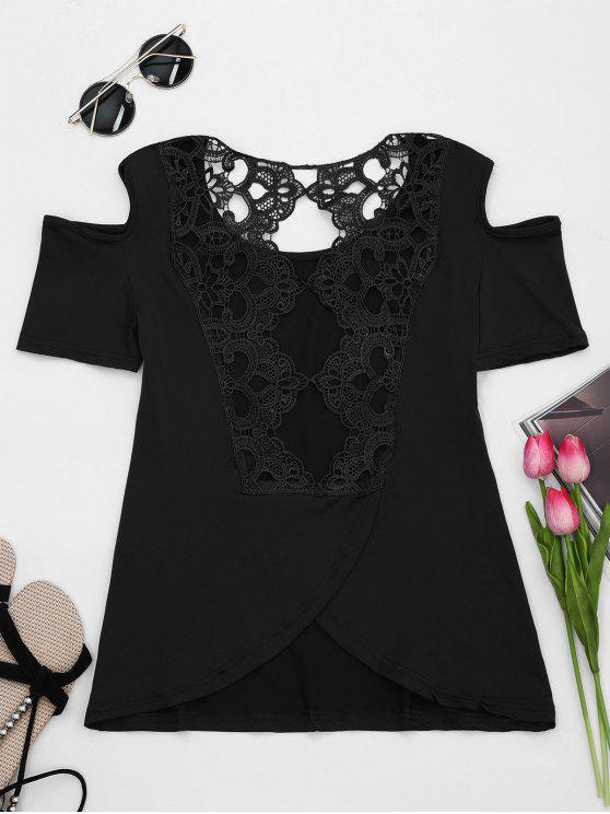 Encaje espalda hombro frío camiseta - Negro L
