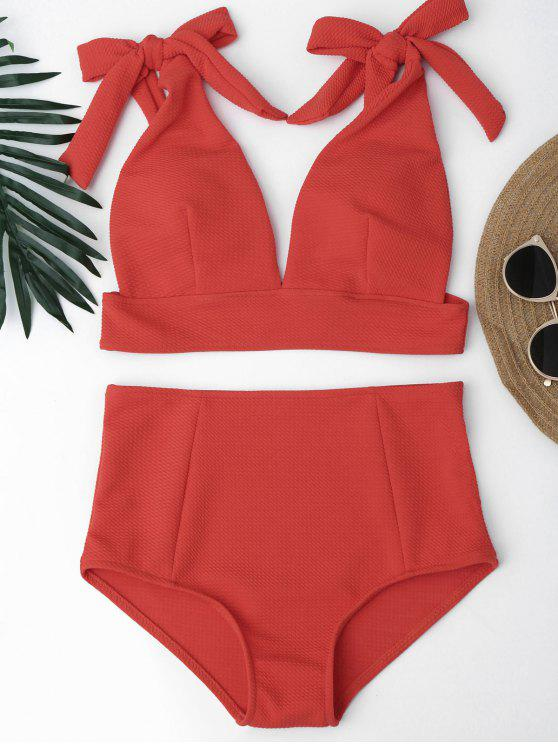 women Tied Plunging Neck High Waisted Bikini - RED L
