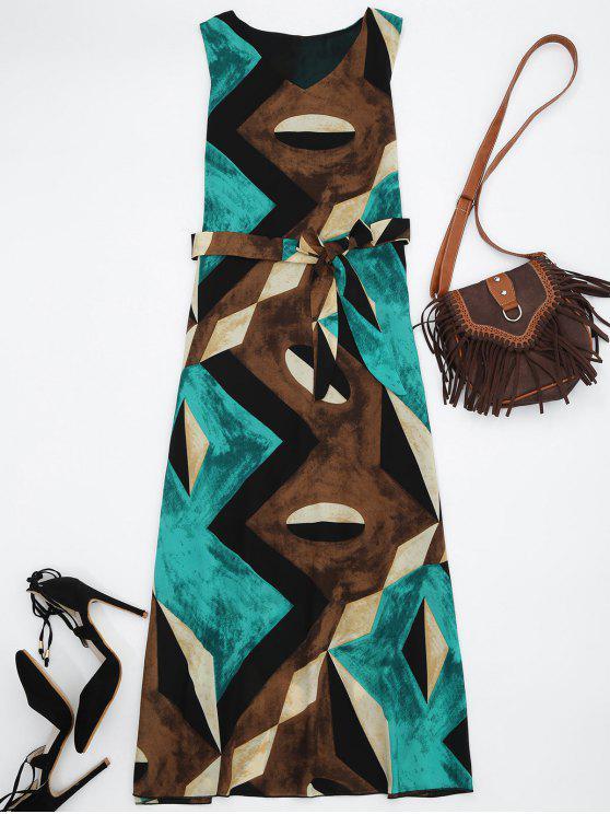 فستان الشمس طباعة هندسية ميدي شيفون - أخضر M