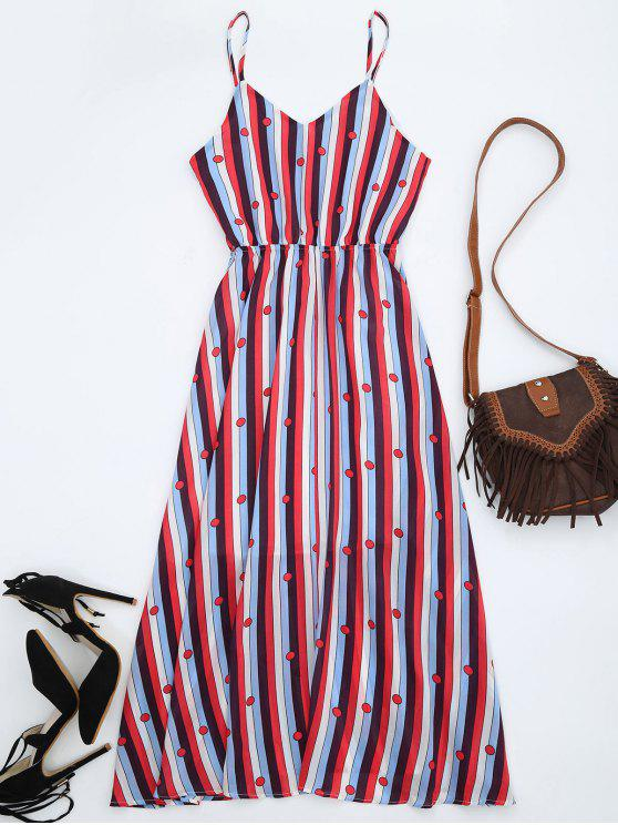 best Chiffon Striped Midi Sundress - MULTICOLOR L