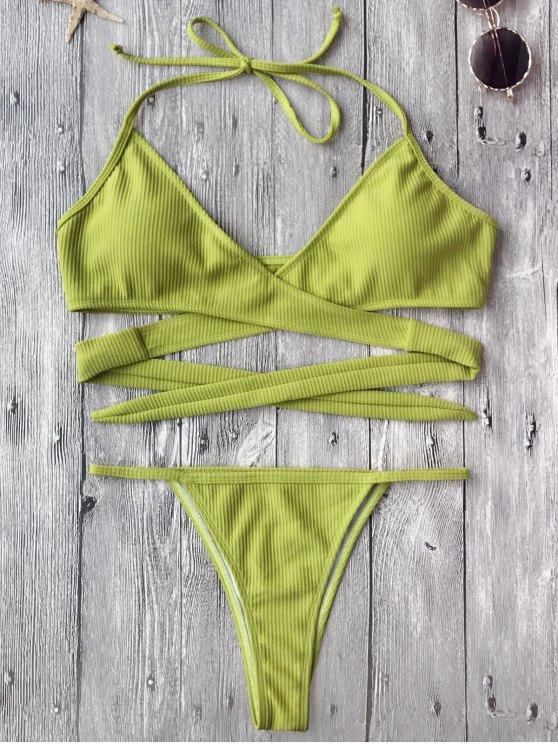 Ensemble Bikini Coupe Haute Texturé Enroulé - Jaune Bleuâtre L