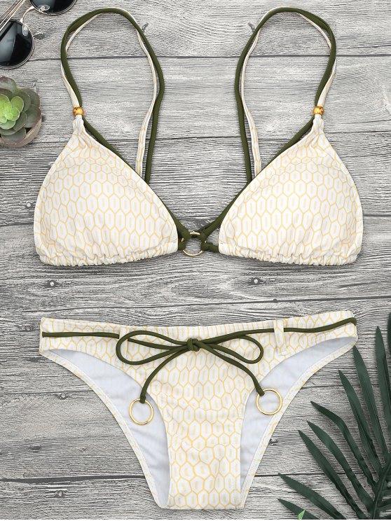 Ensemble de bikini à bretelle imprimé mosaïque avec anneau - Jaune S