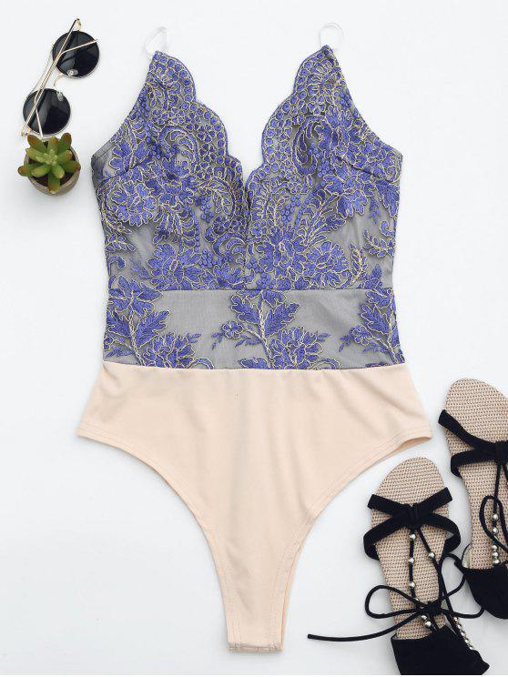 womens High Cut Embroidered One Piece Swimsuit - BLUE XS