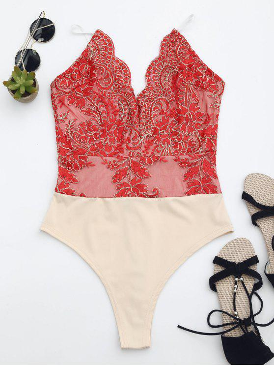 best High Cut Embroidered One Piece Swimsuit - RED L