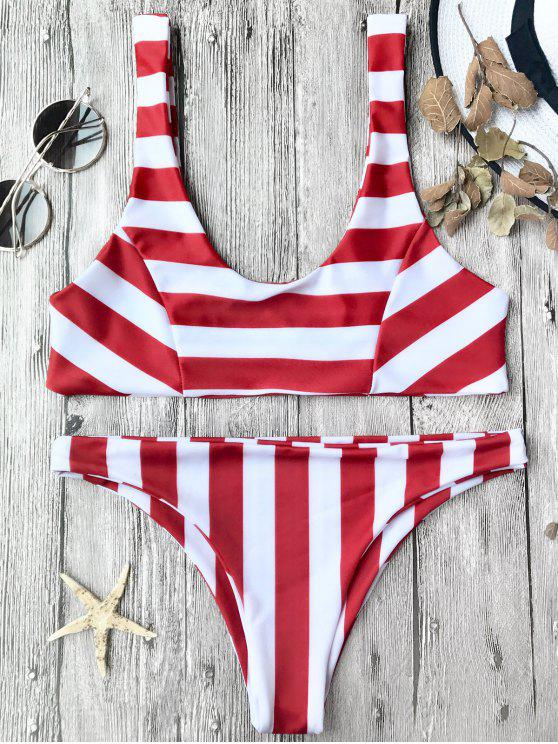 Top et bas de bikini rayé col bas - Rouge et Blanc L