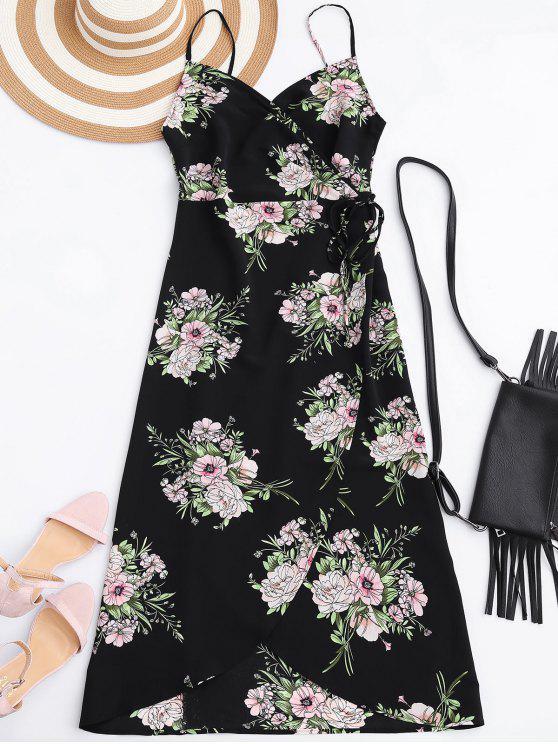 Robe portefeuille imprimée fleur avec fente - Noir M