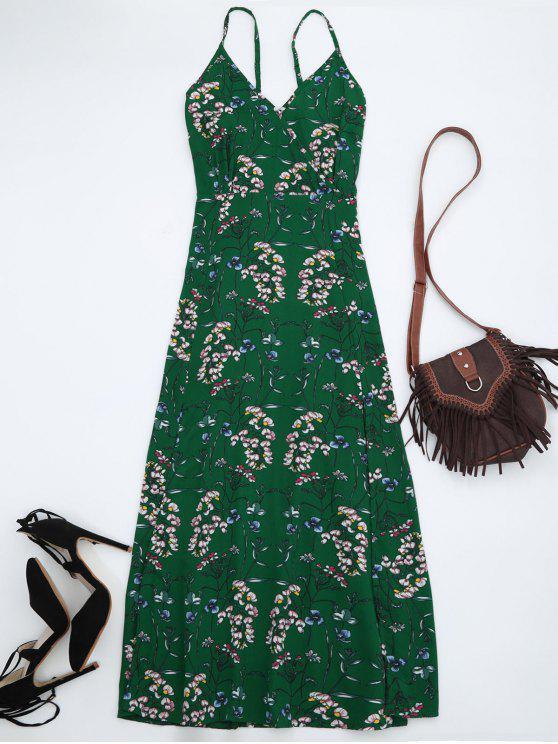 فستان طباعة الأزهار ماكسي شاطئ - أخضر L