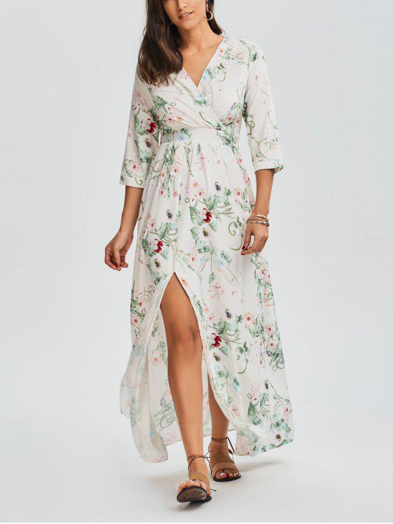 Robe Maxi à col V imprimée de motif floral avec fente - Floral L