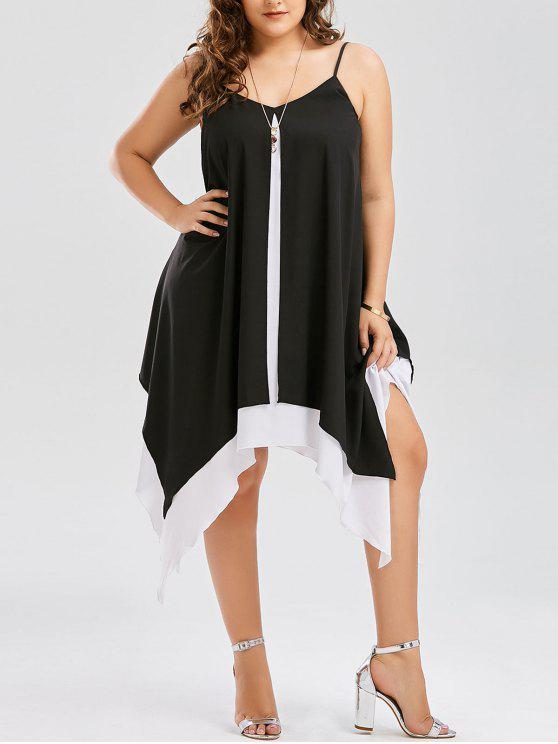 fancy Plus Size Two Tone Handkerchief Dress - WHITE AND BLACK XL