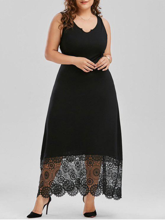 Scalloped más tamaño Maxi vestido de encaje de panel - Negro XL