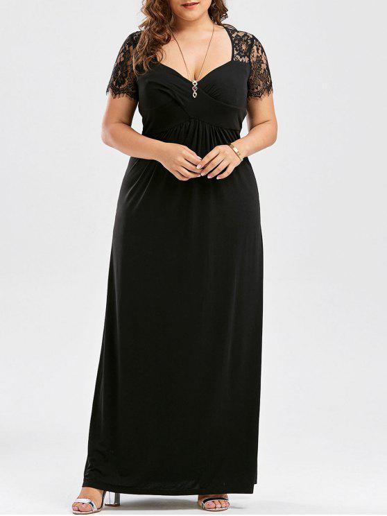 Plus Size Empire Taille Lace Panel Kleid - Schwarz 5XL
