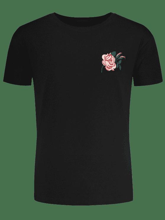 Camiseta bordada floral de manga corta - Negro L