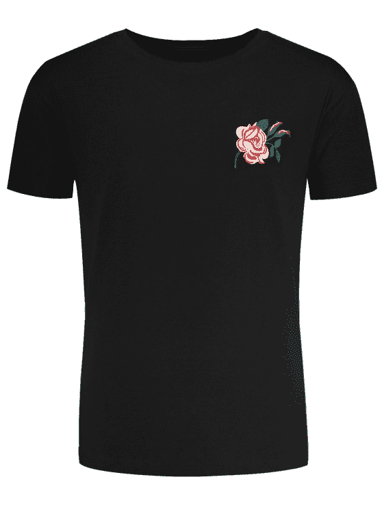 trendy Short Sleeve Floral Embroidered Tee - BLACK XL
