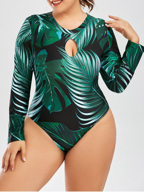 affordable Palm Leaf Print One Piece Plus Size Swimsuit - DEEP GREEN 2XL