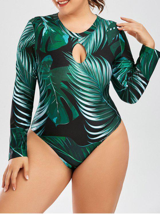 النخيل ورقة طباعة قطعة واحدة بالاضافة الى حجم ملابس السباحة - الأخضر العميق 4XL
