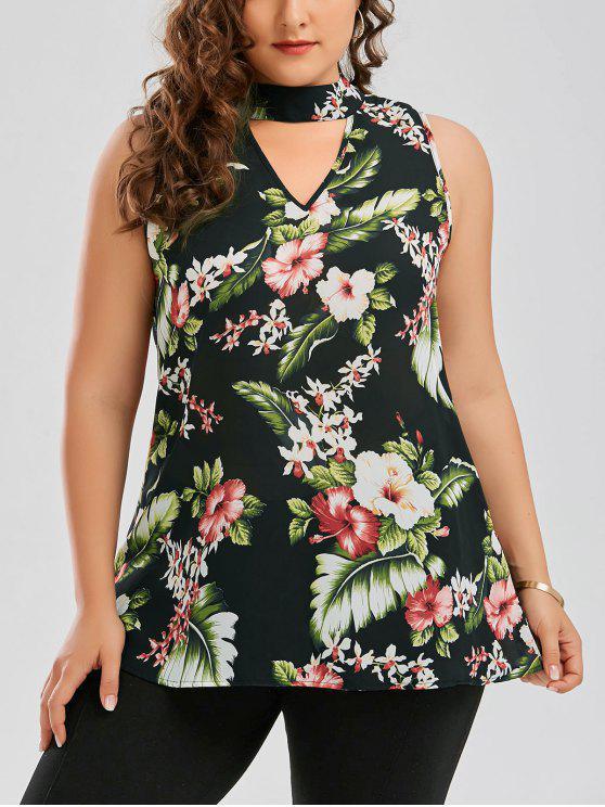 Blouse à grande taille à col clé imprimée de motif floral Hawaïen - Vert 2XL