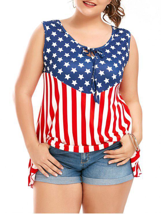 العلم الأمريكي بلا أكمام زائد حجم تي شيرت - Colormix 2XL