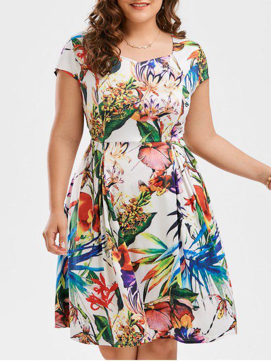 Print Cap Sleeve Plus Size Flare Dress FLORAL