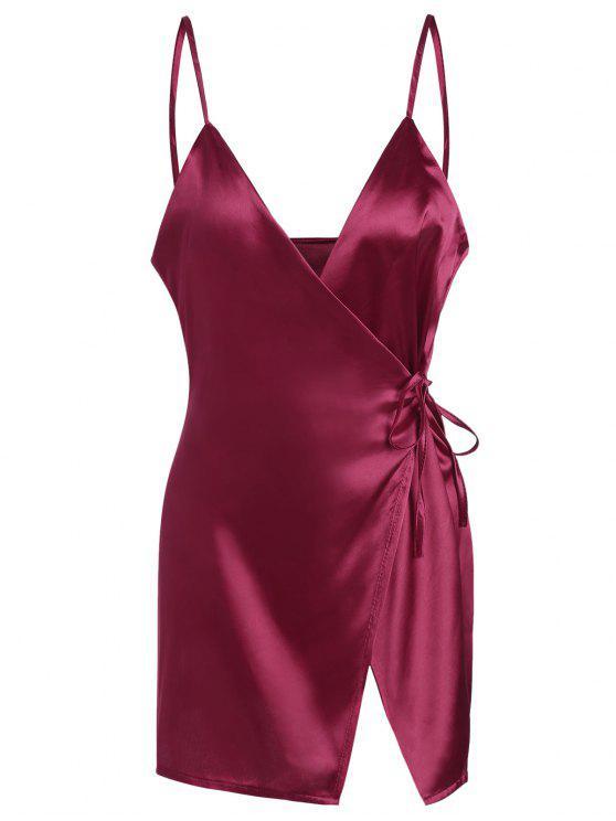 فستان مصغر كامي الساتان لف - نبيذ أحمر XL
