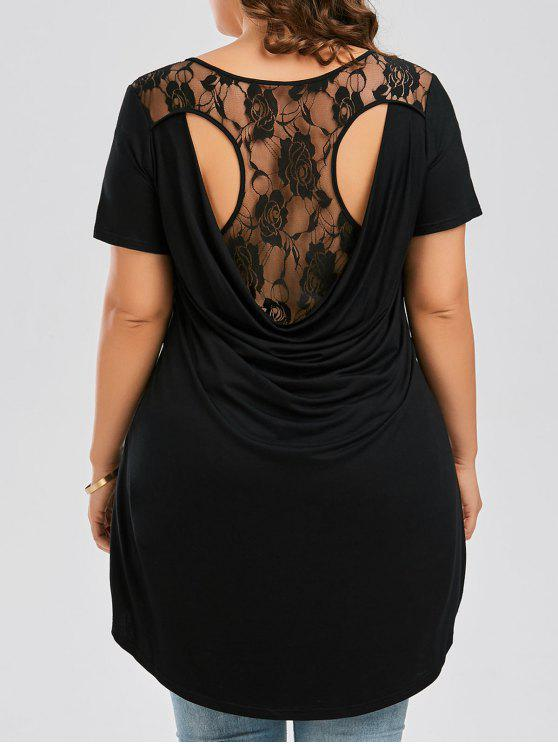 f849799577c 2019 Plus Size Floral Lace Panel High Low T-shirt In BLACK 5XL