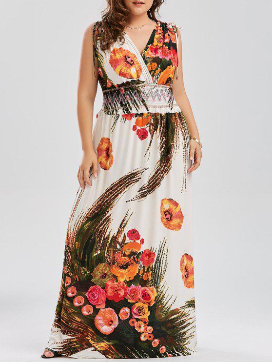 Plus Size Printed Low Cut Maxi Beach Dress