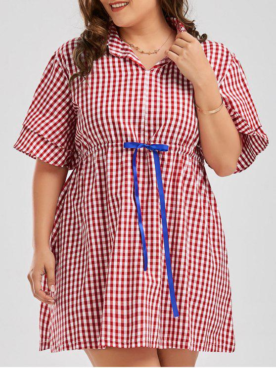 04f8ad1133 22% OFF  2019 Plus Size Checked Drawstring Smock Shirt Dress In RED ...