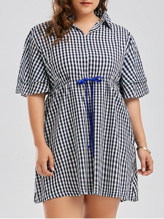 2a8a7825ff 2019 Plus Size Checked Drawstring Smock Shirt Dress In BLUE 4XL