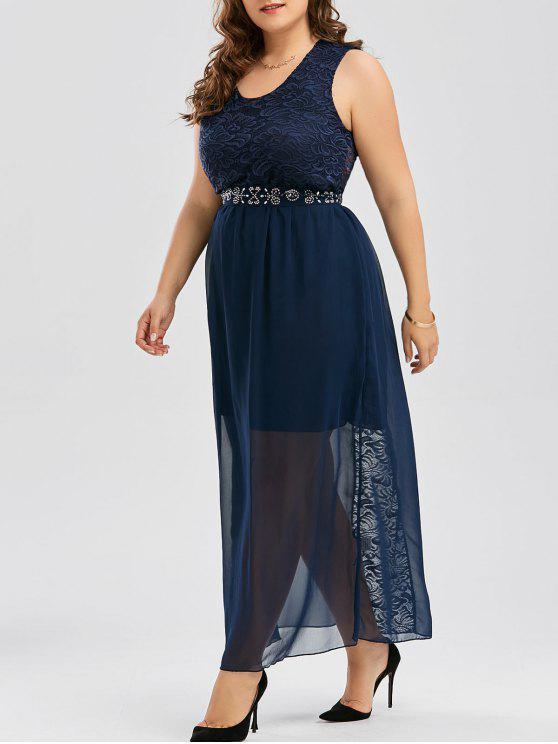 4c77582b658f Plus Size Chiffon Maxi Flowy Evening Dress With Belt - Purplish Blue 4xl