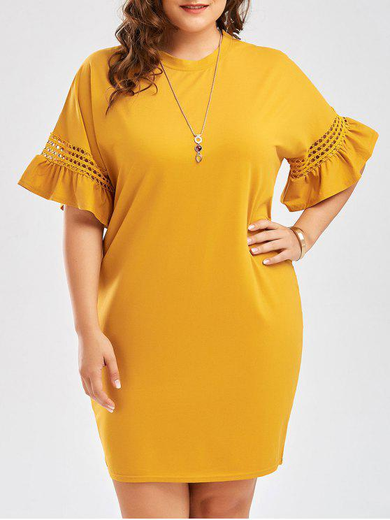 lady Plus Size Flare Sleeve Cutout Cocoon Tee Dress - GINGER 3XL