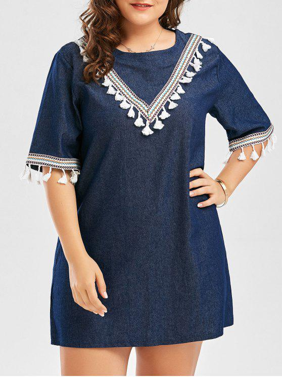 chic Plus Size Embroidered Tassel Peasant Mini Tunic Dress - PURPLISH BLUE 4XL